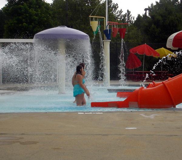 Both girls in pool