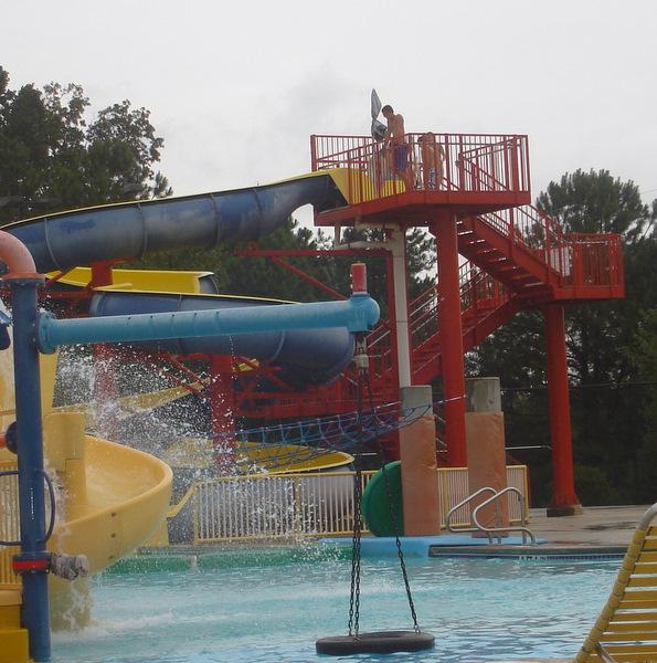 Kids at top big slide
